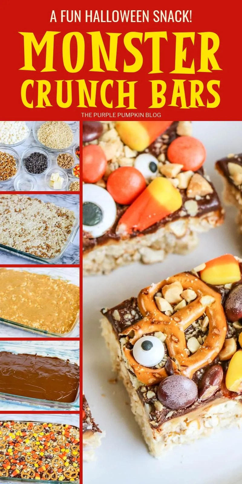 A fun halloween snack - Halloween Rice Krispies Treats - Monster Crunch Bars (step-by-step images)