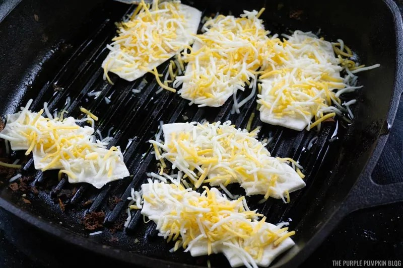Add cheese to quesadillas