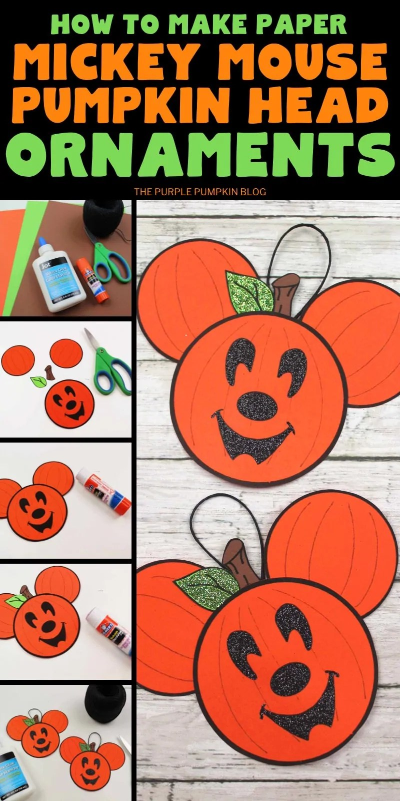 How to make paper Mickey Mouse Pumpkin Head Ornaments
