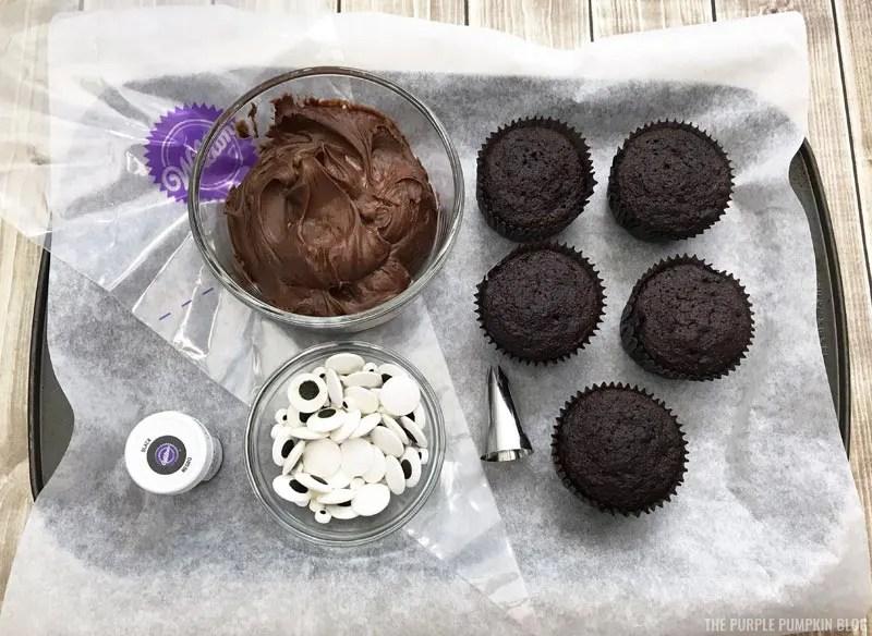 Ingredients for bat cupcakes