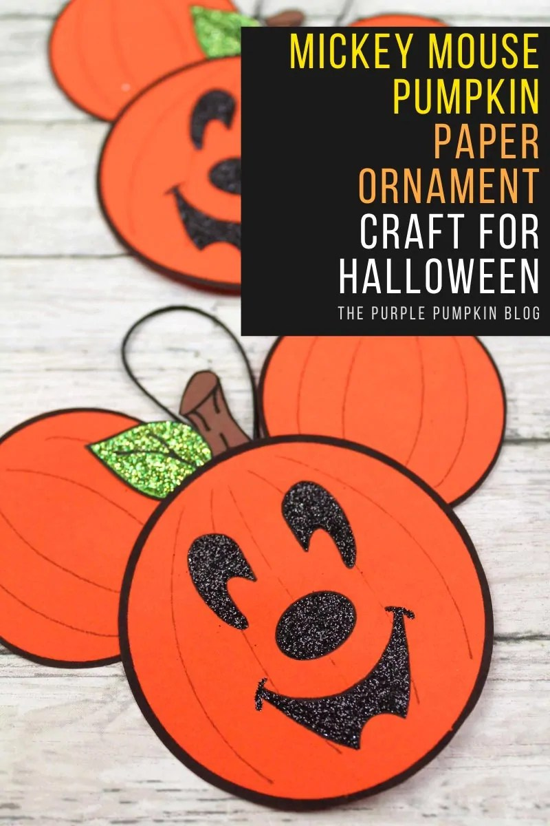 Mickey Mouse Pumpkin Paper Ornament Craft for Halloween