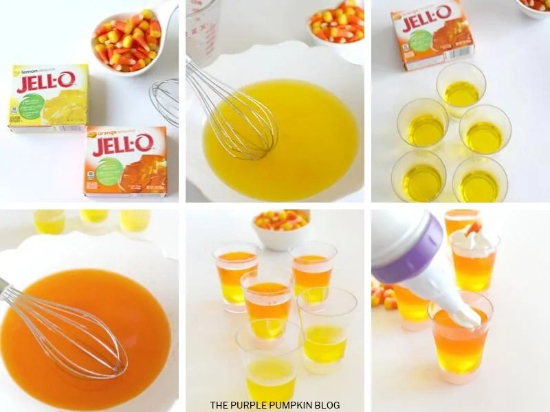 Recipe card with step by step images for making candy corn jello cups