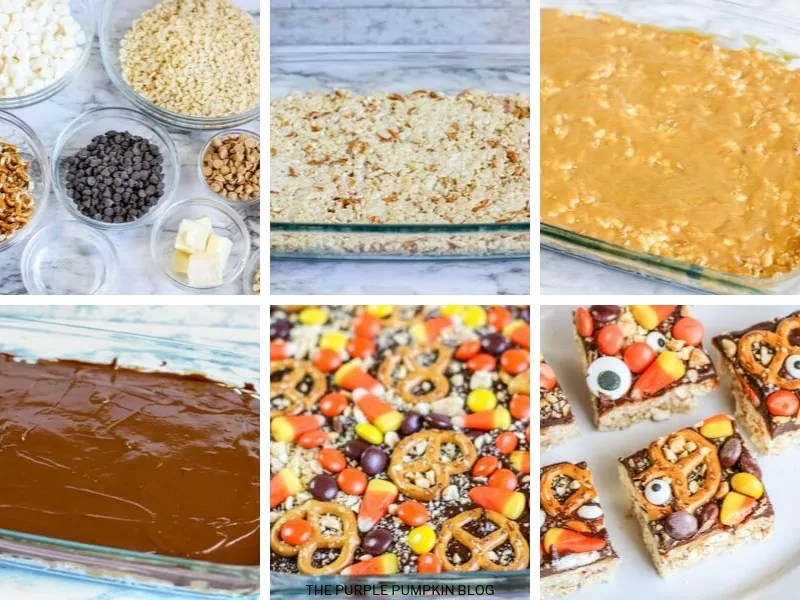 Recipe card with step-by-step process photos for Monster Crunch Bars