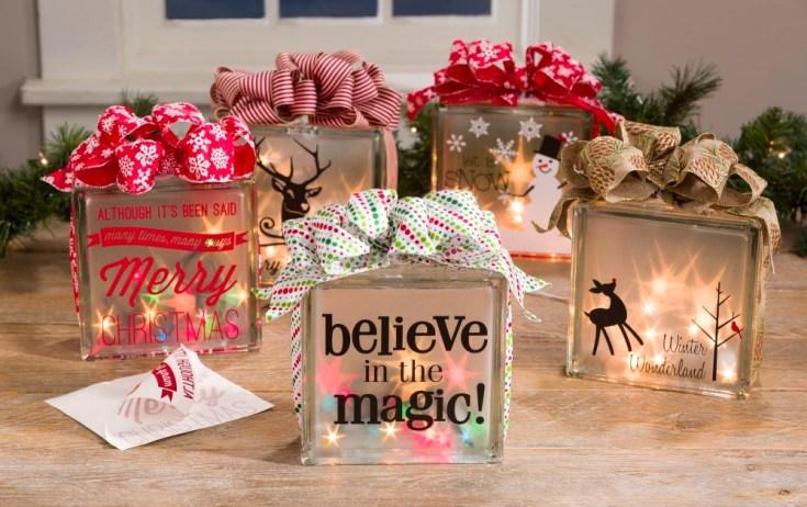 Christmas Holographic Glass Blocks