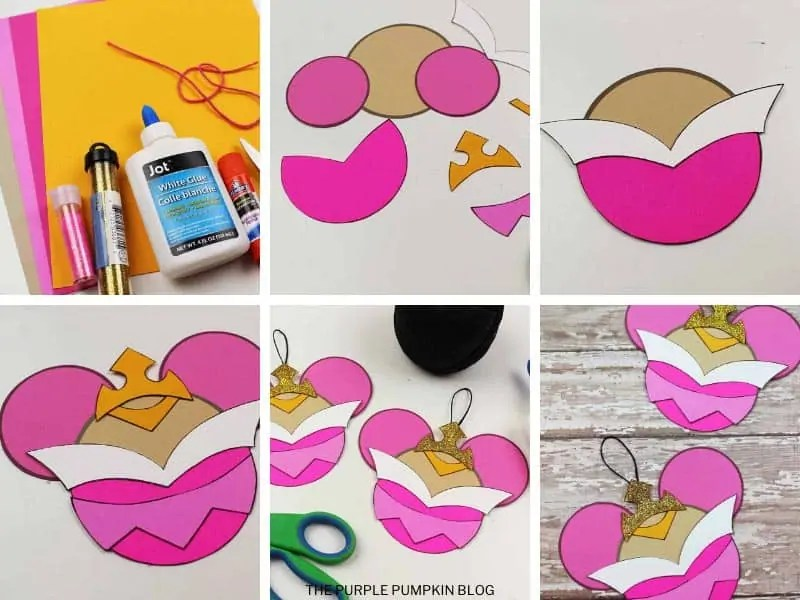 step by step photos demonstrating how to make Sleeping Beauty ornaments