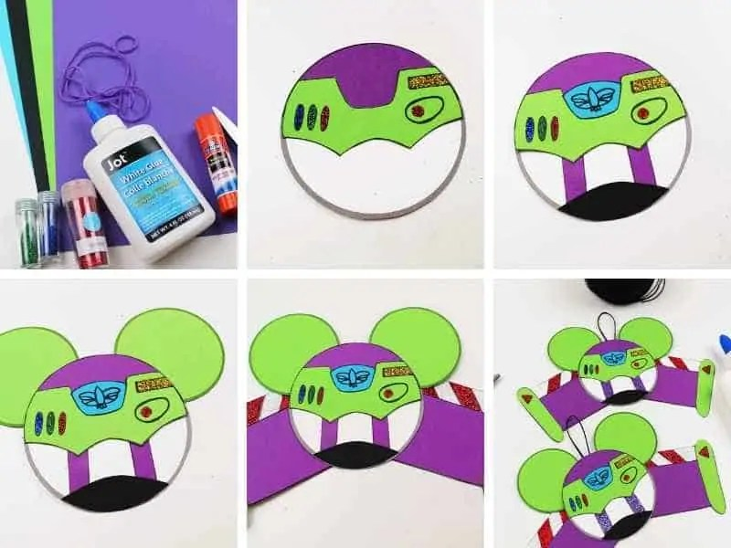step by step pictures demonstrating how to make a Buzz Lightyear ornament