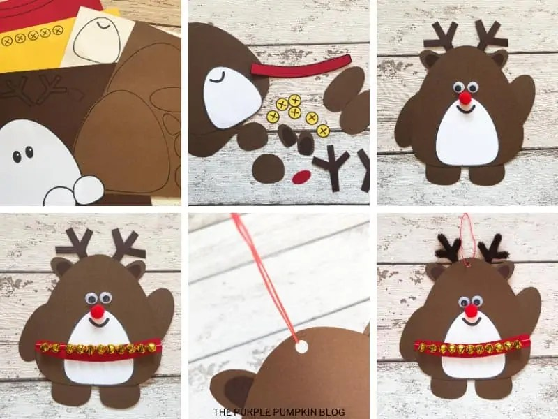 how to card with step by step demonstration photos to make this reindeer craft
