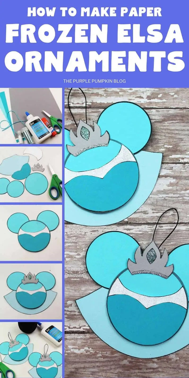 how to make paper frozen elsa ornaments