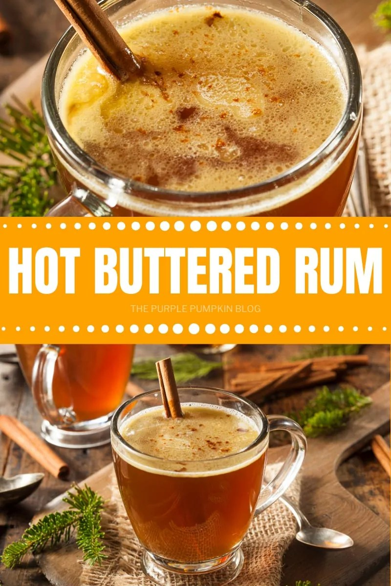 Hot Buttered Rum in glasses with handles and cinnamon stick