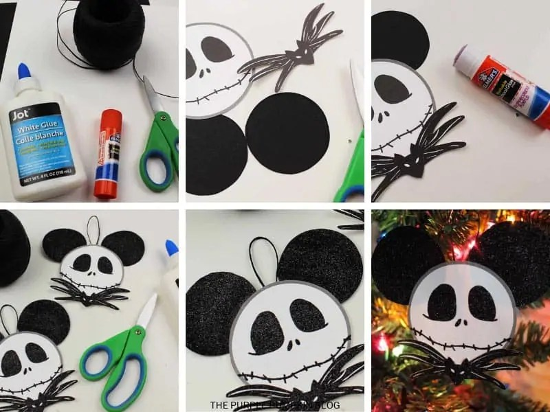 Step by step photos demonstrating how to make as Jack Skellington Christmas ornament