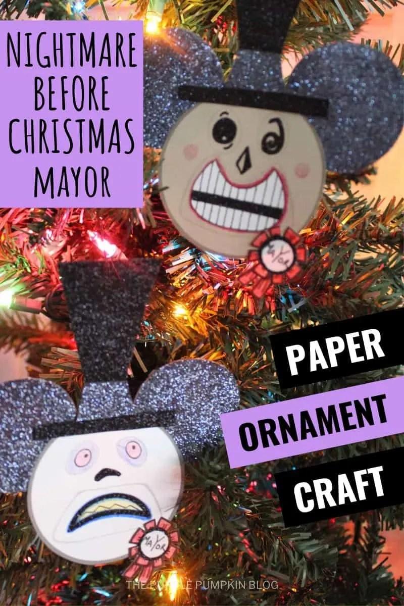Nighmare Before Christmas Mayor Paper Ornament Craft