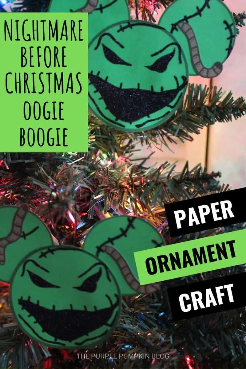Nighmare Before Christmas Oogie Boogie Paper Ornaments Craft