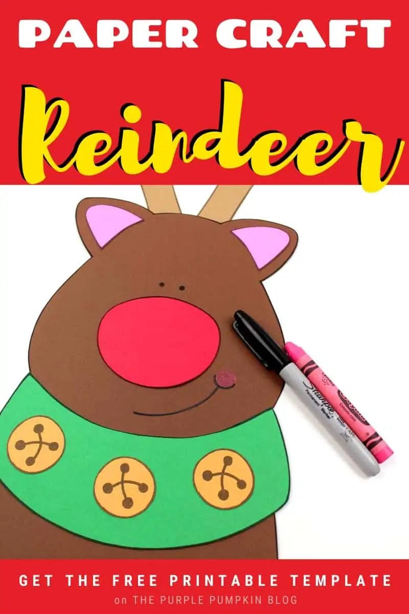 Paper Craft Reindeer - Free Printable Template