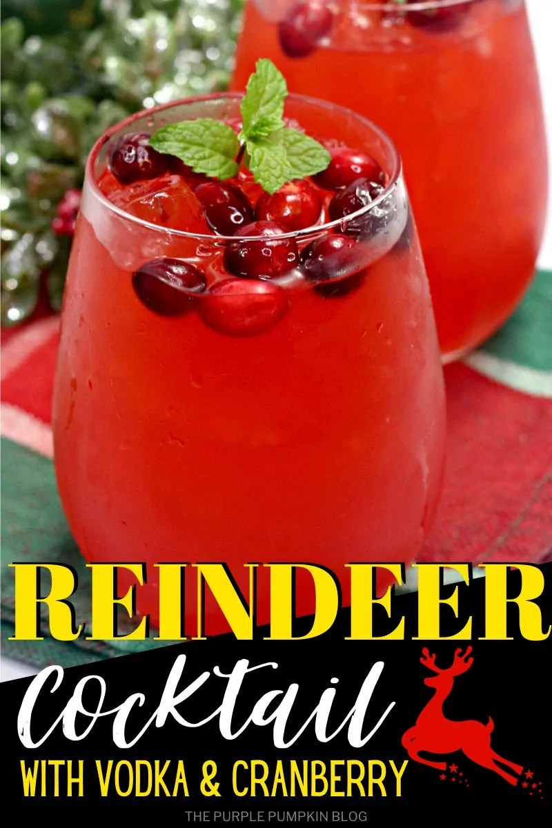 Two glasses of (red) Reindeer Cocktail with Vodka & Cranberry with ice, cranberries floating on top and a sprig of mint. Images of the same cocktail featured throughout with different text overlay unless otherwise described.