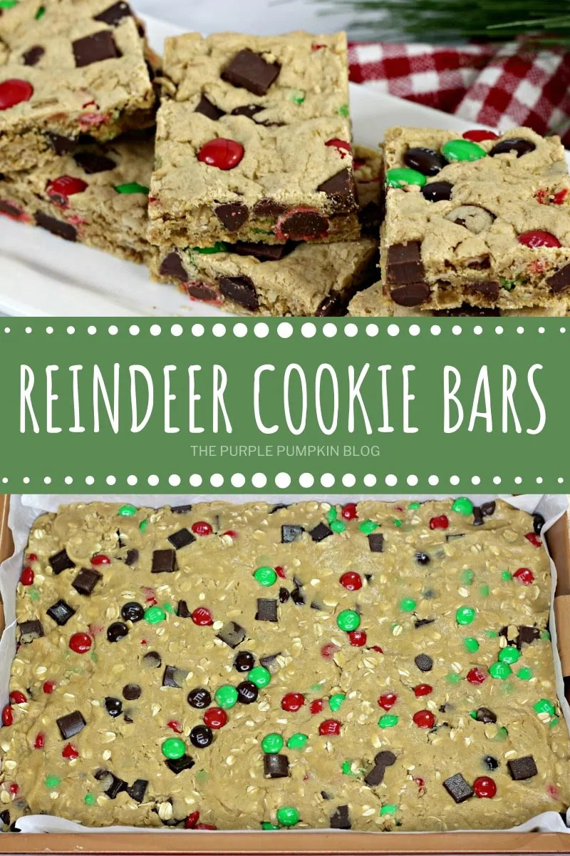 Reindeer Cookie bars cut into squares and pre-baked in a tray.