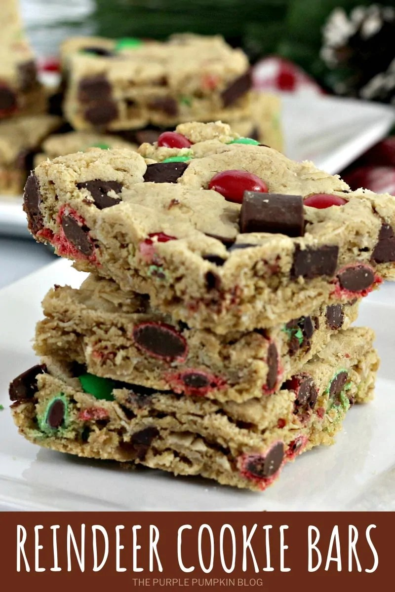 A stack of reindeer cookie bars