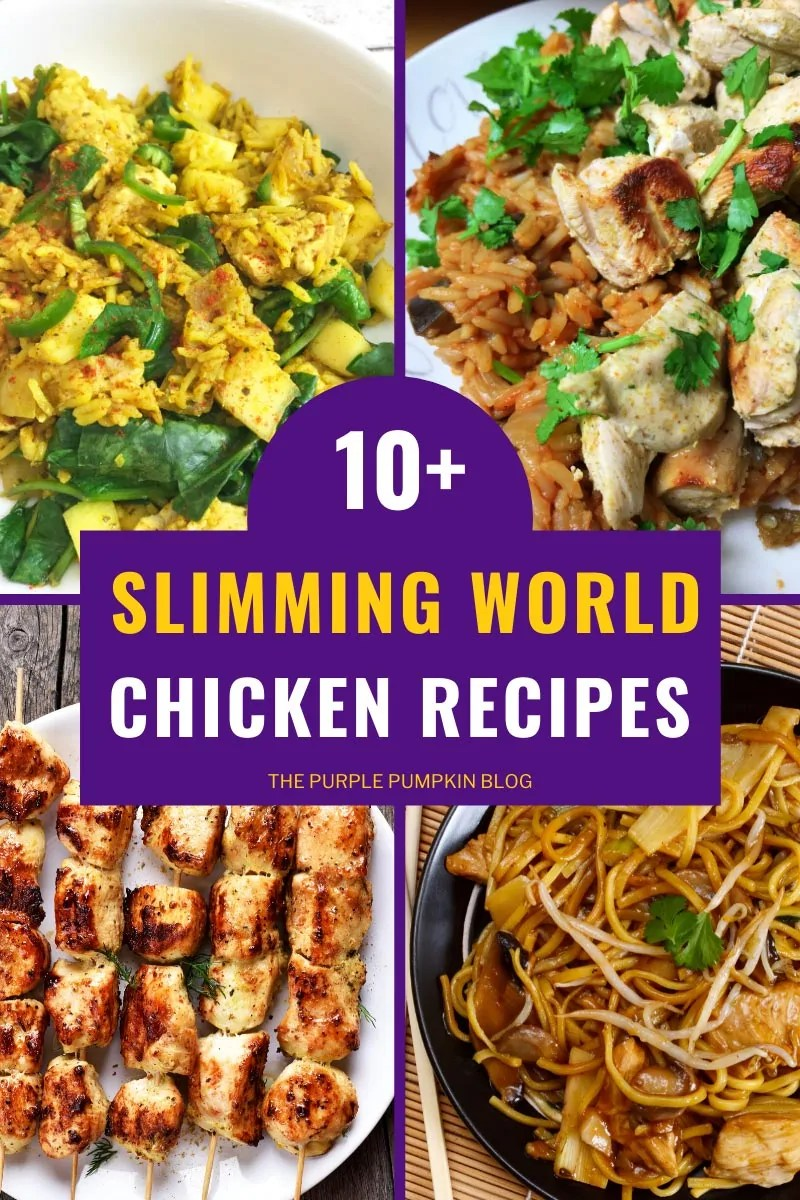 10+ Easy Slimming World Chicken Recipes with images of four chicken dishes - chicken biryani, chicken tikka, chicken kebabs, and chicken chow mein