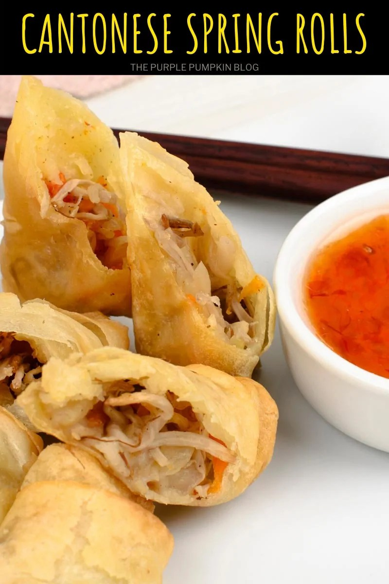Spring Rolls cut in half with chili dipping sauce