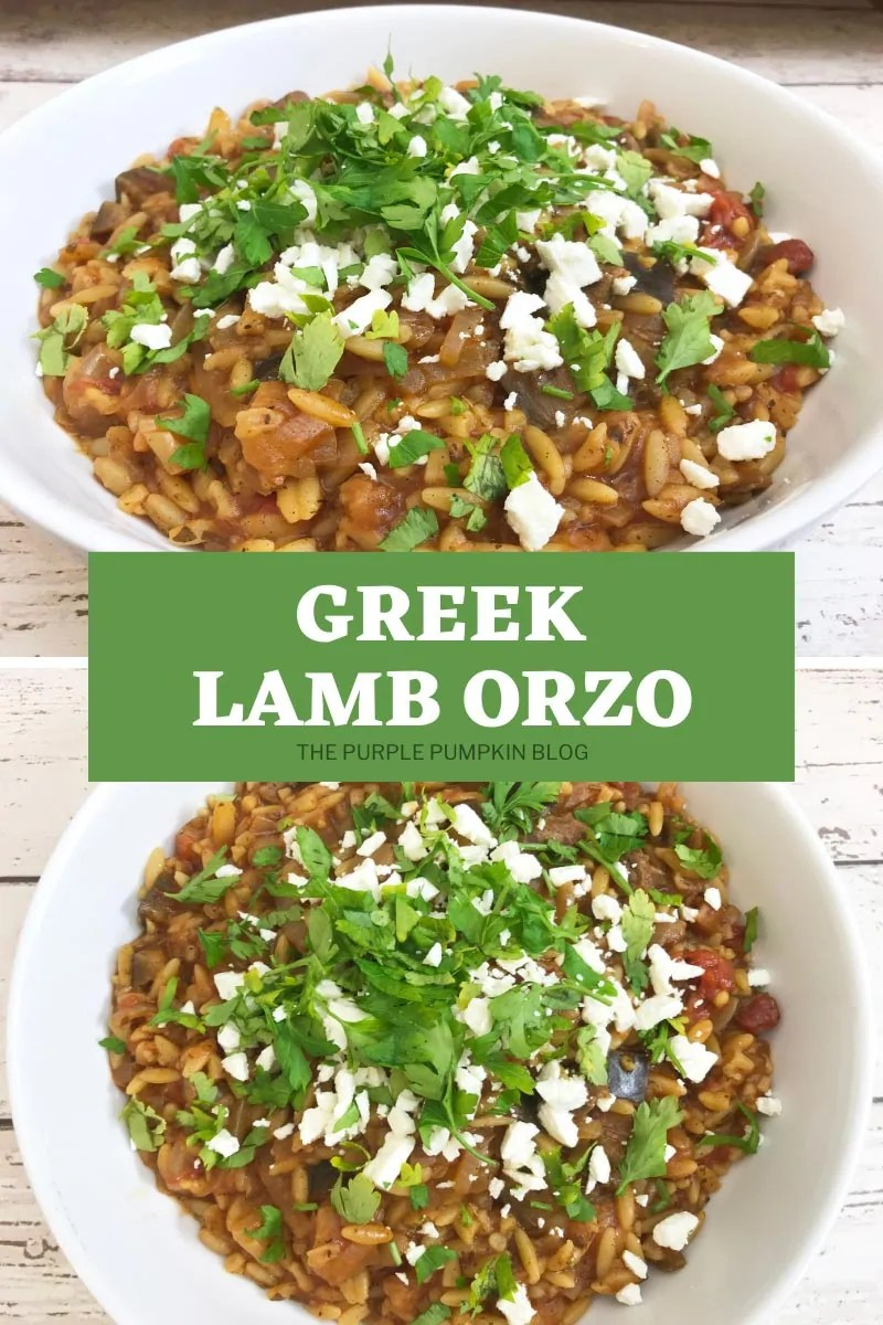 Two shots of Greek Lamb Orzo in white bowls sprinkled with feta and parsley. One overhead shot and the other front on.