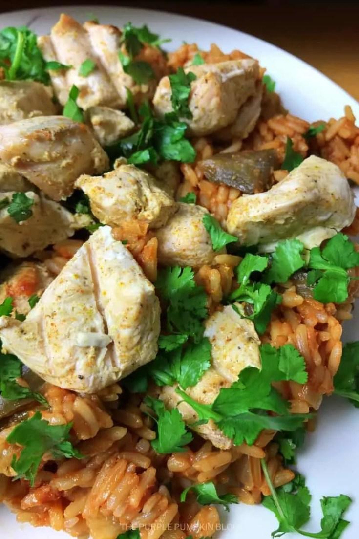 Chicken Tikka With Tomato Aubergine Rice Pilaf