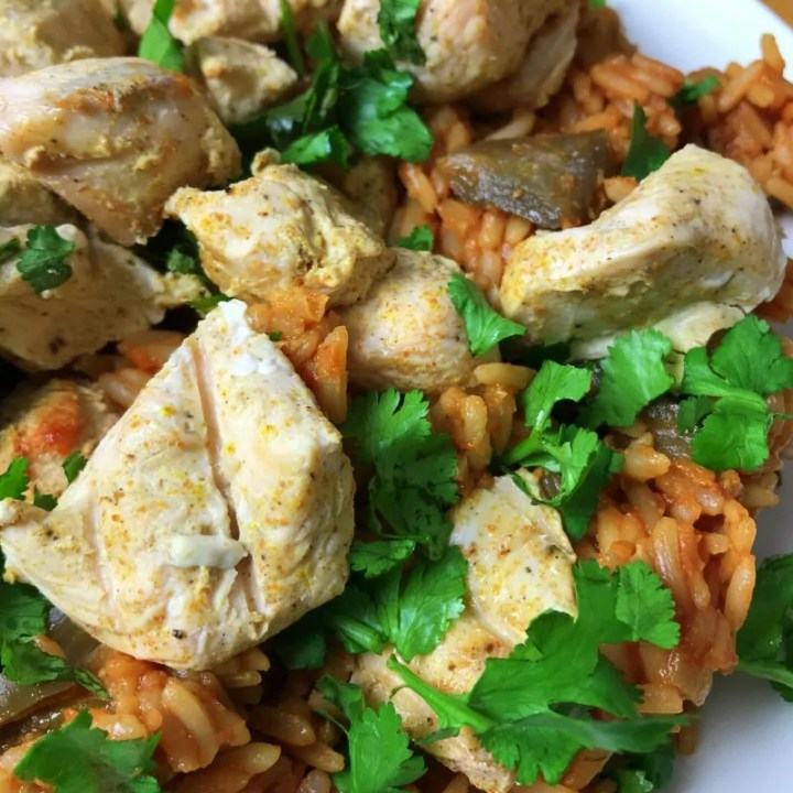 Chicken Tikka with Tomato Aubergine Rice Pilaf