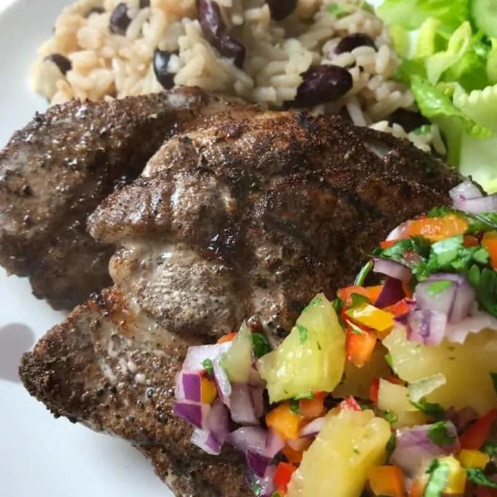 Easy Jerk Pork, Rice & Peas and Pineapple Salsa