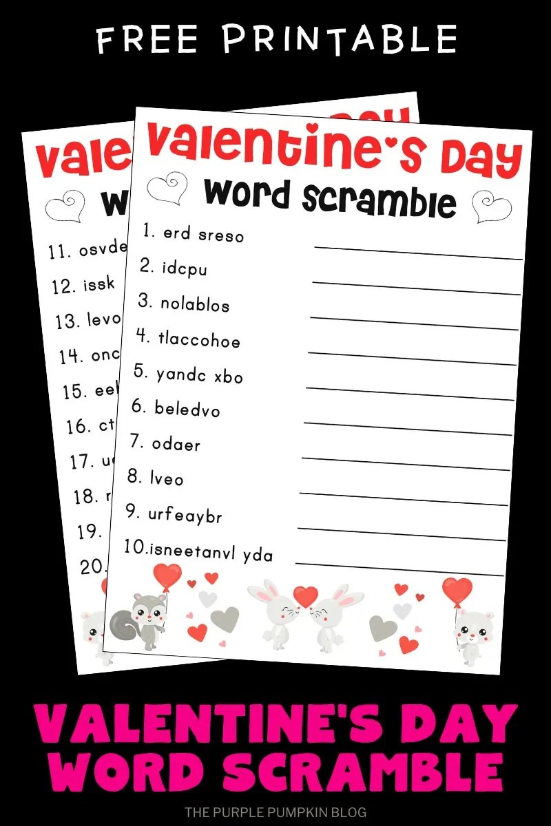 Free Printable Word Scramble for Valentine's Day