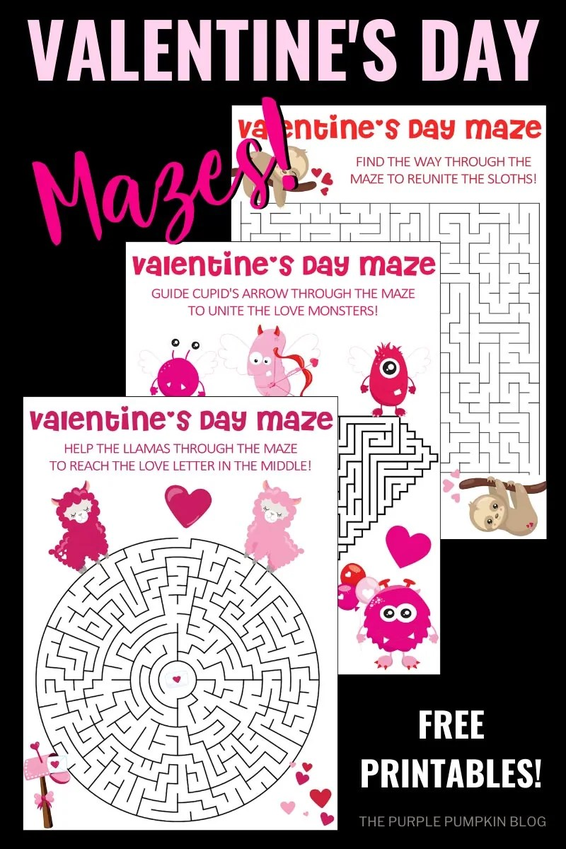 Valentine's Day Mazes (set of three)
