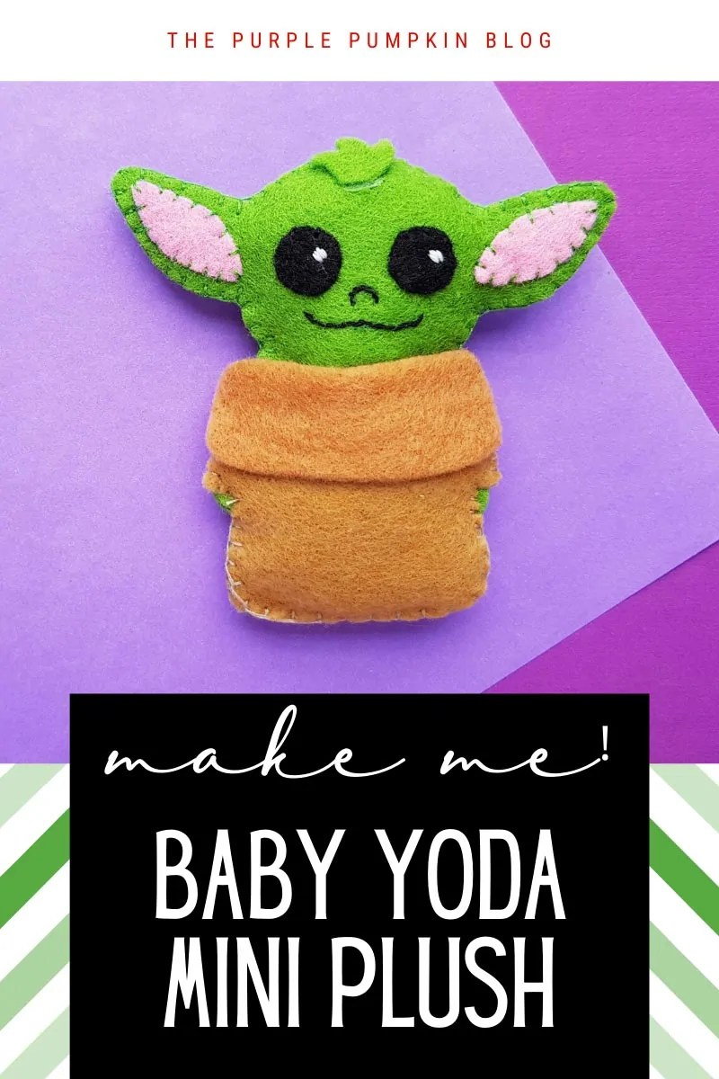 Cute mini plush of Baby Yoda on a purple background - hand stitched with felt. Same picture of baby Yoda throughout from different angles and text overlays.