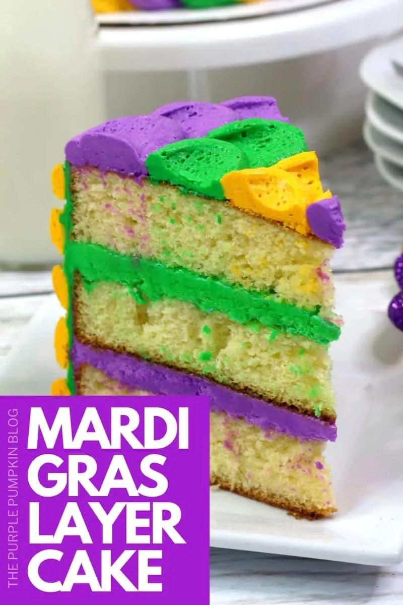 A slice of Mardi Gras Cake