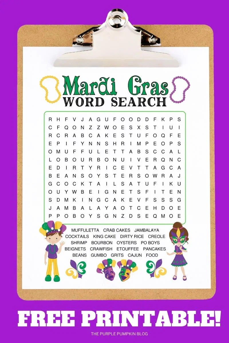 Mardi Gras Word Search printable on a clip board on a purple background