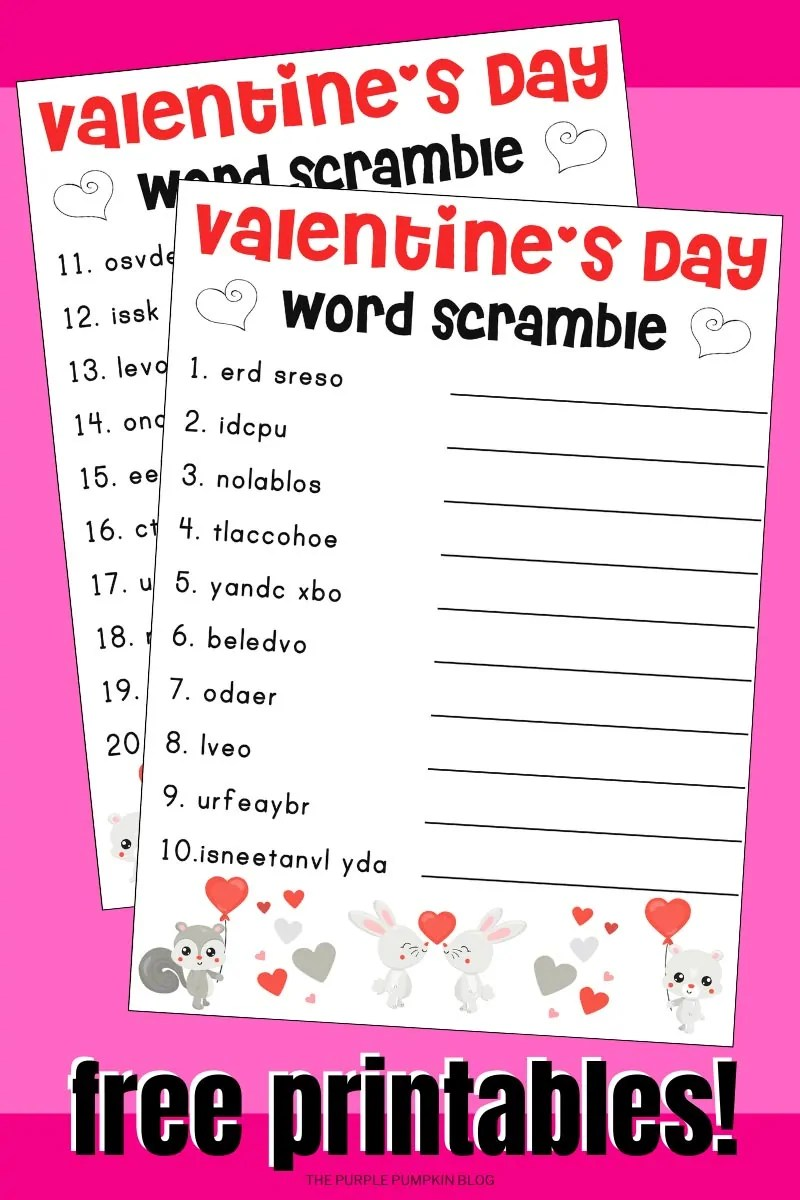 Valentine's Day Word Scramble free printables.