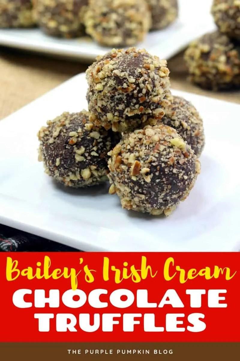 Bailey's Irish Cream Chocolate Truffles - a stack of 4 chocolate truffles coated with chopped pecans.