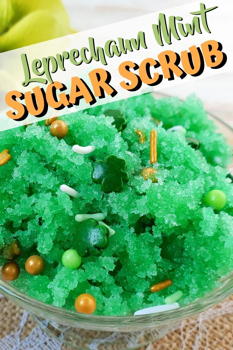 Leprechaun Mint Sugar Scrub - close up of bowl of green sugar scrub with St. Patrick's Day sprinkles