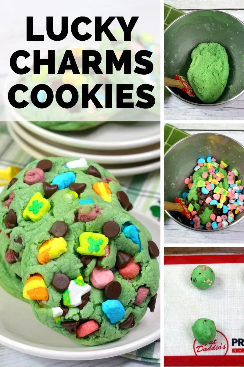 Lucky Charms Cookies with a picture of the cookies, as well as in process photos of mixing the cookie dough and the dough balls