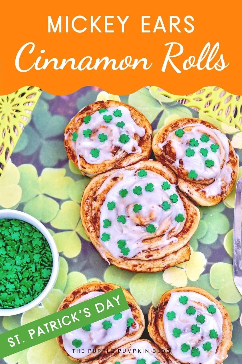 Mickey Ears Cinnamon Rolls - St. Patrick's Day