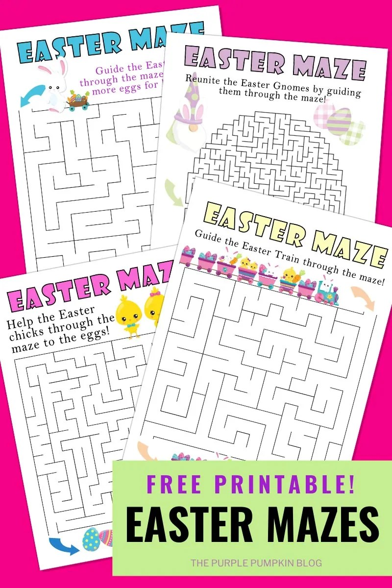 Free Printable Set of Easter Mazes