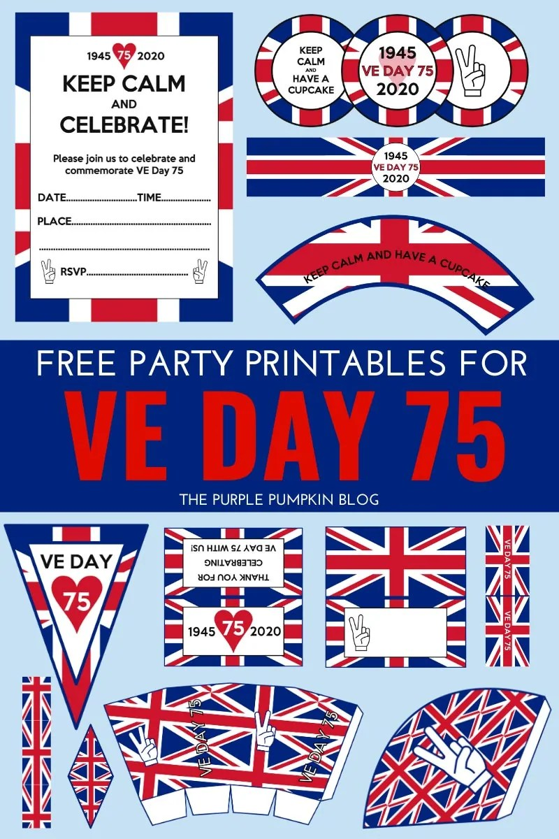 Free Printable VE Day Decorations - Stay Home Party!