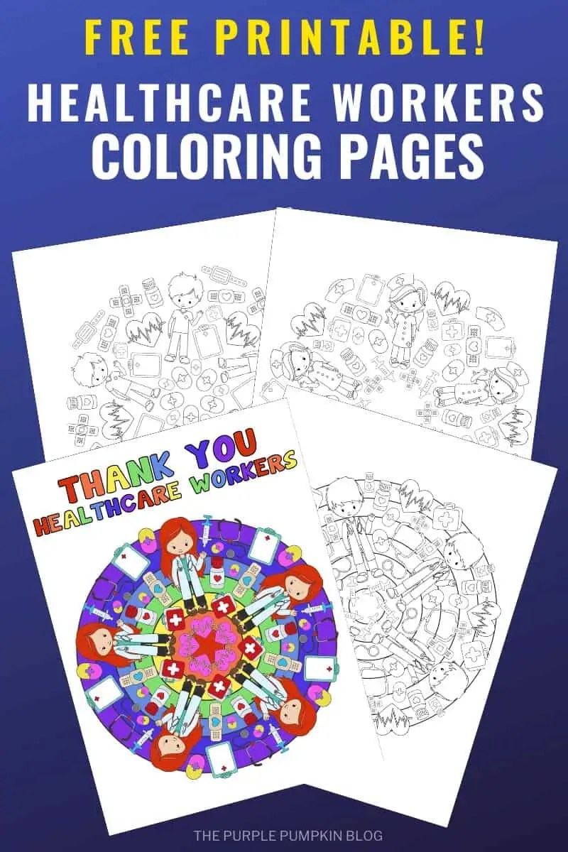 Print off these Healthcare Workers Coloring Pages to color with pencils, crayons, marker pens, or paints and hang them in your windows for the world to see! There are four healthcare mandala designs with several variations - bringing the total amount of colouring sheets in this printable to 16! Plenty to keep the whole family busy when staying at home! #HealthcareWorkersColoringPages #ColoringPages #ColoringSheets #ThePurplePumpkinBlog #FreePrintables