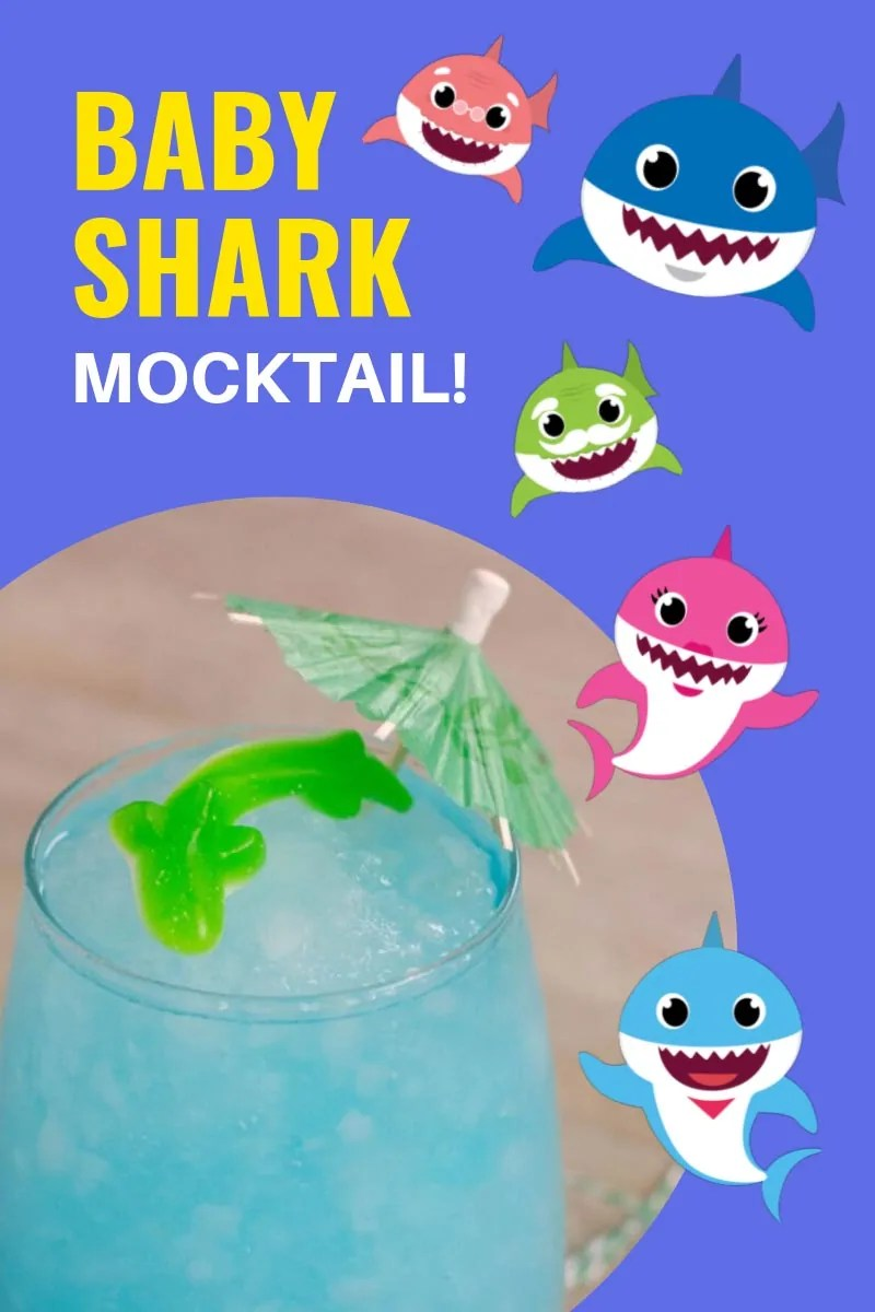 "A glass of blue Baby Shark slushie topped with a shark gummy and cocktail umbrella. Text overlay saying""Baby Shark Mocktail"" and images of the Shark Family. Photos from same photoshoot throughout from different angles and with different text overlay unless otherwise described."