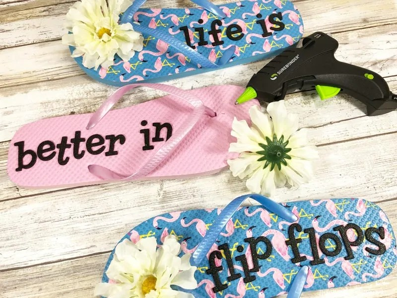 Attaching flowers to flipflops