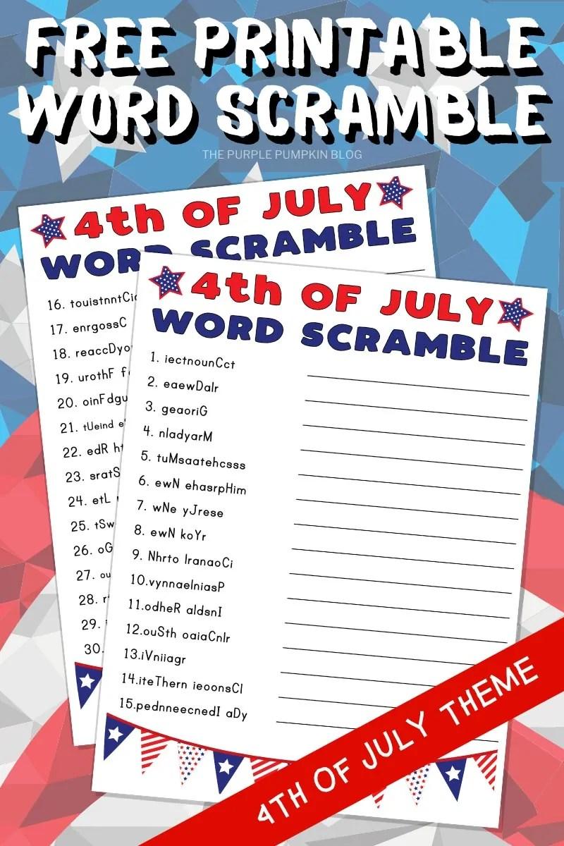 Free Printable 4th of July Word Scramble