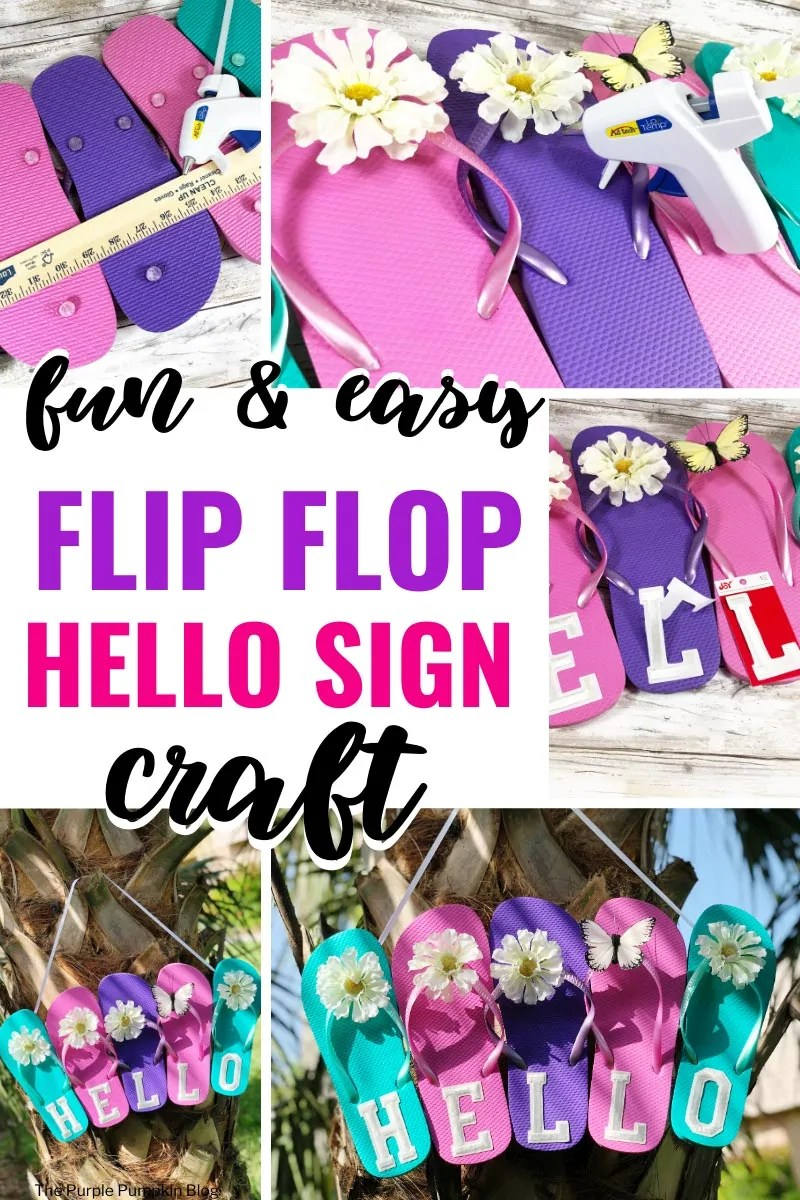 Fun & Easy Flip Flop Hello Sign Craft - Process shots of the sign being made.