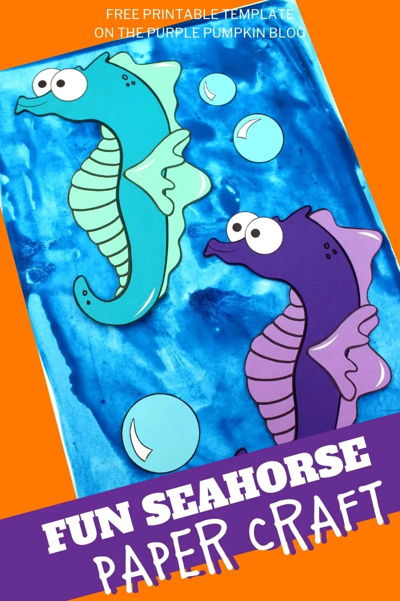 Two paper seahorses on a blue background with text overlay saying: Fun Seahorse Paper Craft.
