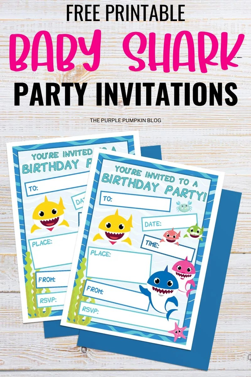 Free Printable Baby Shark Party Invitations