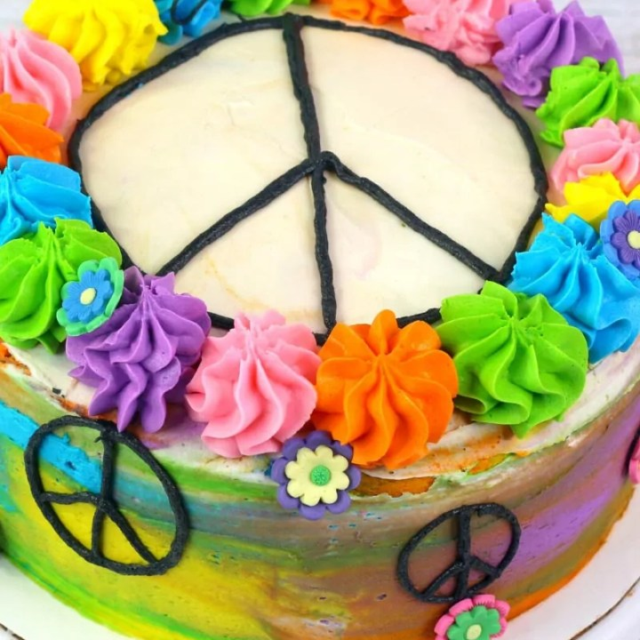Hippie Tie Dye Cake with Peace Signs & Flowers