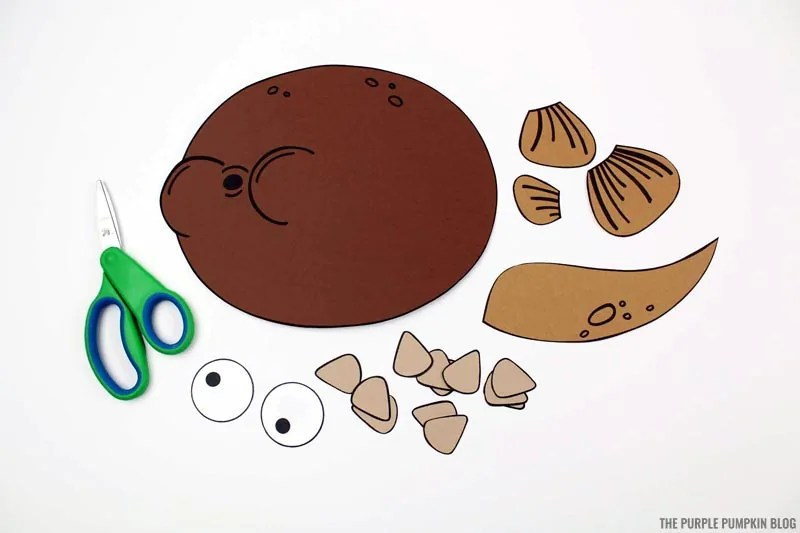 cut paper puffer fish pieces