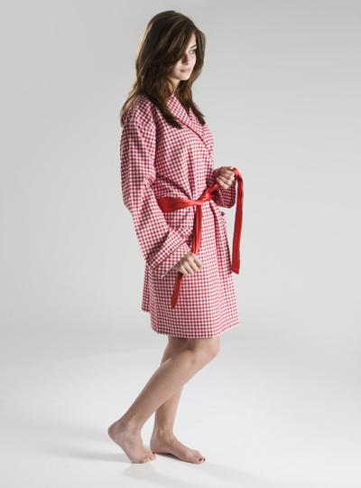 Red & White Check Robe