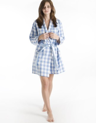Blue & White Check Robe