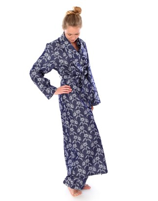 Indigo Damask Robe